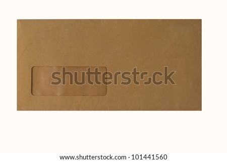 one brown envelope  isolated on white background