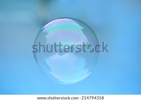 one bubble on blue background - stock photo