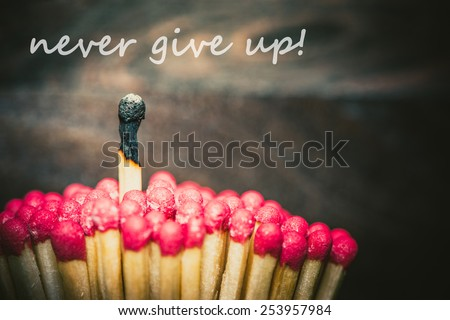 One burned match standing out from the crowd of mathes, never give up concept - stock photo