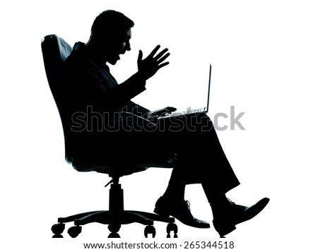 one  business man computer computing sitting in armchair silhouette Full length in studio isolated on white background - stock photo