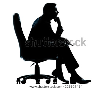 one  business man sitting in armchair silhouette Full length in studio isolated on white background - stock photo