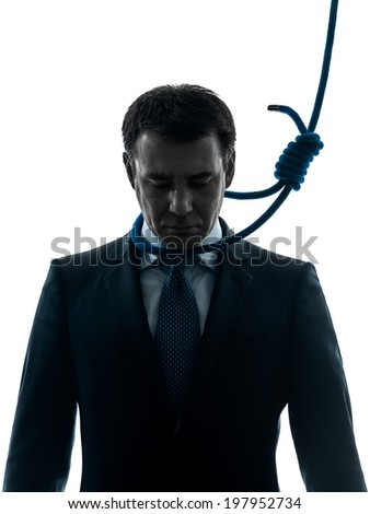 one  business man with hangman noose around the neck in silhouette studio isolated on white background - stock photo