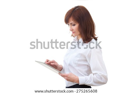 one business woman computer computing typing digital tablet studio isolated on white background - stock photo