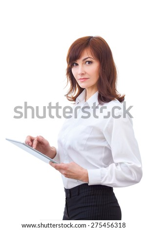 one business woman computer computing typing digital tablet studio isolated on white background