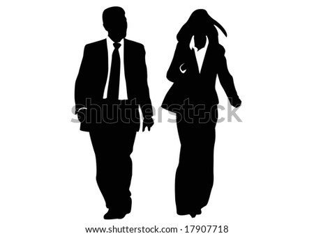 one businessman and one businesswoman - stock photo