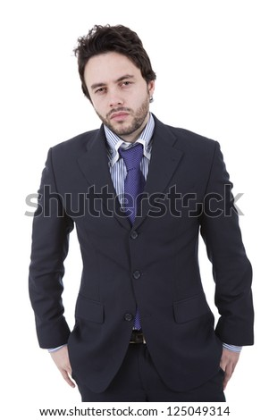 One Businessman standing on a white background - stock photo