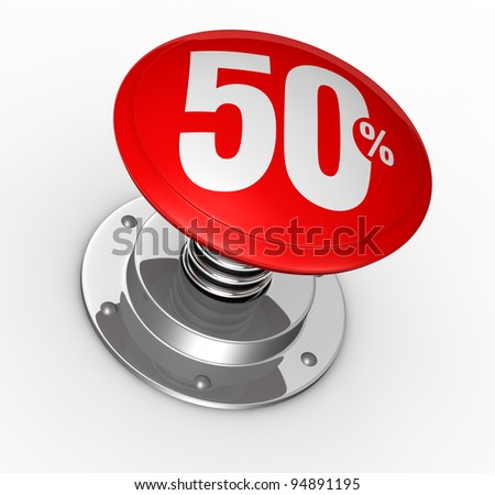 one button with number 50 and percent symbol (3d render)
