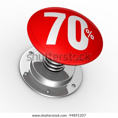 one button with number 70 and percent symbol (3d render)