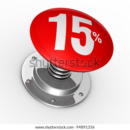 one button with number 15 and percent symbol (3d render)