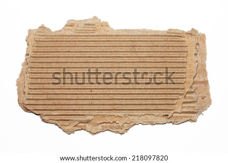 One cardboard piece on white background - stock photo