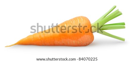 One carrot over white background - stock photo