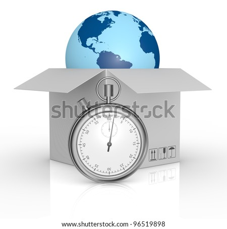 one carton and a world globe coming out with a stopwatch in front of them, concept of fast delivery (3d render) - stock photo