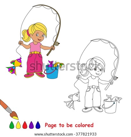 One Cartoon Baby Fisher Girl Catch Fish Coloring Book For Children Page To Be