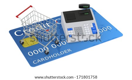 one cash register and a shopping cart over a credit card (3d render)