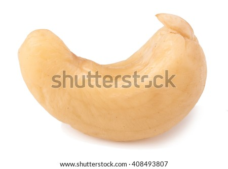 one cashew isolated on white background close-up macro