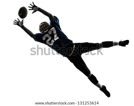one caucasian american football player man catching receiving in silhouette studio isolated on white background - stock photo