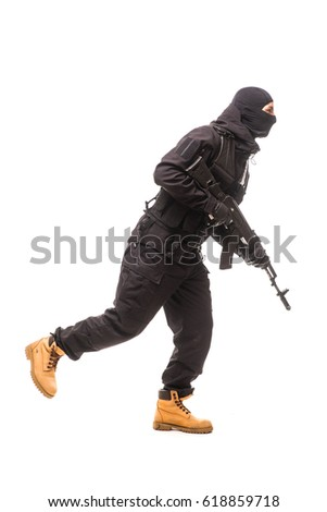 one caucasian army soldier man attacking on studio isolated on white background