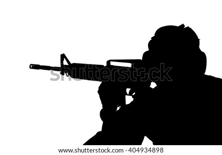 one caucasian army soldier man shooting on studio isolated on white background - stock photo