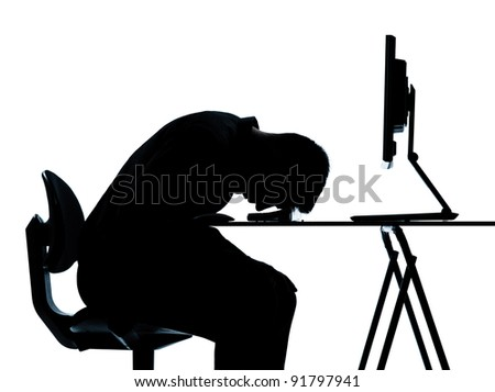 one caucasian business man computer computing sleeping tired silhouette in studio isolated on white background - stock photo