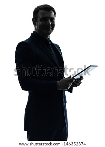one caucasian business man holding digital tablet   posing portrait  on white background - stock photo