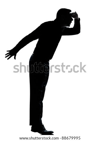 one caucasian business man silhouette standing tiptoe looking away Full length in studio isolated on white background