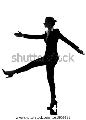 one caucasian business woman walking marching in silhouette  on white background