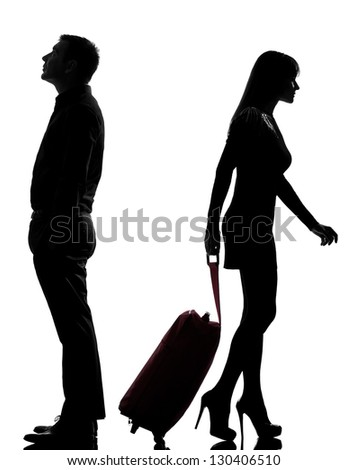 one caucasian couple man and woman dispute separation in studio silhouette isolated on white background