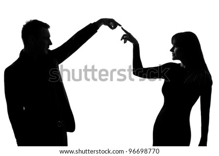 one caucasian couple man and woman gesturing expressing communication concept in studio silhouette isolated on white background - stock photo