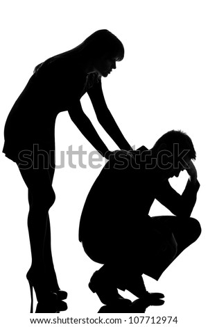 one caucasian couple man sad  and woman caring consoling in studio silhouette isolated on white background - stock photo