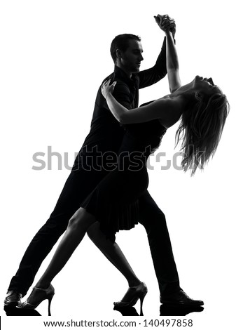 one caucasian couple woman man dancing dancers salsa rock  in silhouette studio isolated on white background - stock photo