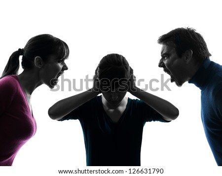 one caucasian family father mother daughter dispute screaming  in silhouette studio isolated on white background - stock photo