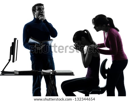 one caucasian family father mother daughter  helping homework  in silhouette studio isolated on white background - stock photo