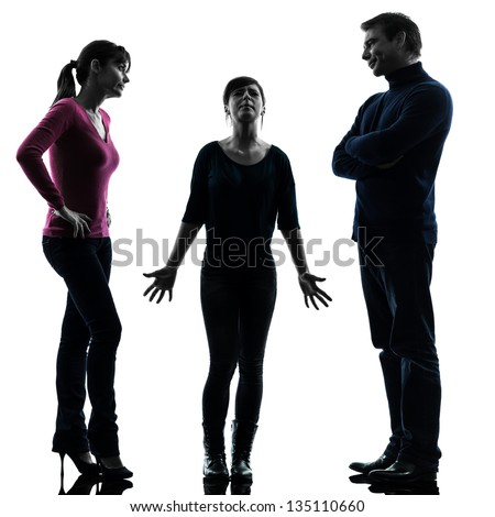 one caucasian family father mother daughter  issues problems  in silhouette studio isolated on white background - stock photo