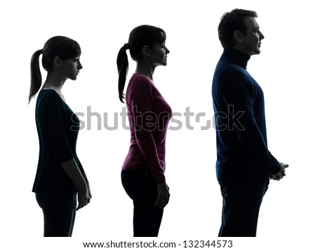 one caucasian family father mother daughter man standing serious profile portrait in silhouette studio isolated on white background