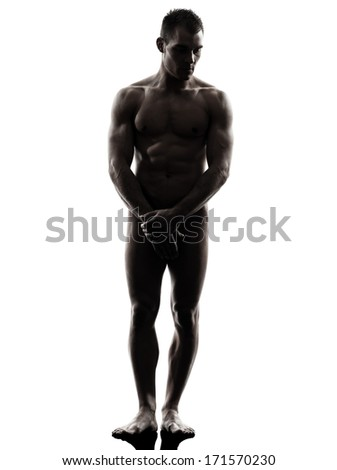one caucasian handsome naked muscular man standing full length in silhouette studio on white background - stock photo