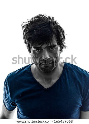 one caucasian handsome stylish stubble man serious blank expression silhouette on white background - stock photo