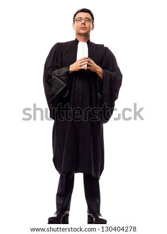 one caucasian lawyer man pleading in studio isolated on white background - stock photo