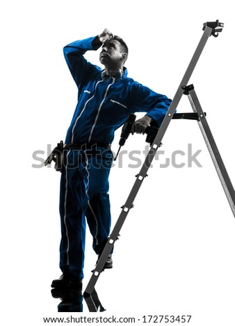 one caucasian man construction worker tired sweating silhouette in studio on white background