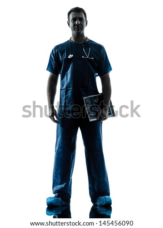 one caucasian man doctor surgeon medical worker standing full length silhouette isolated on white background - stock photo