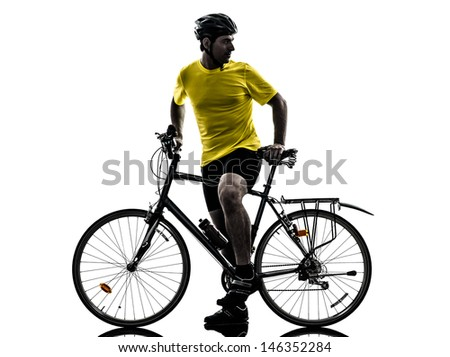 one caucasian man exercising bicycle mountain bike   on white background - stock photo
