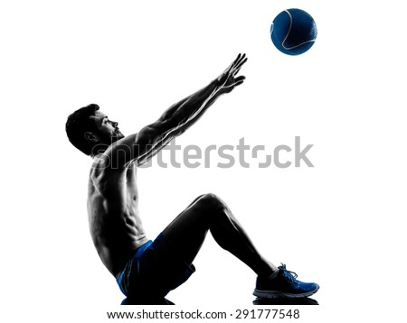 one caucasian man exercising fitness weights Medicine Ball exercises in studio silhouette isolated on white background - stock photo