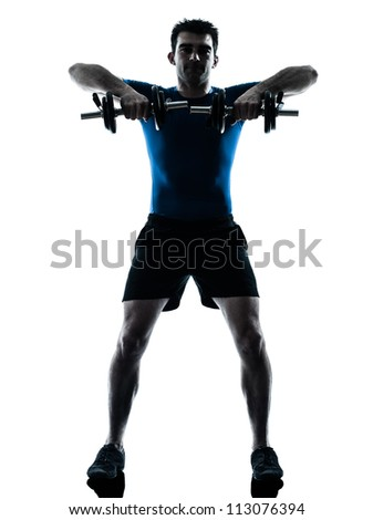 one caucasian man exercising weight training workout fitness in silhouette studio  isolated on white background - stock photo