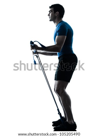 one caucasian man exercising workout fitness in silhouette studio  isolated on white background - stock photo