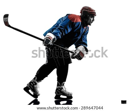 one caucasian man ice hockey player  in studio  silhouette isolated on white background - stock photo