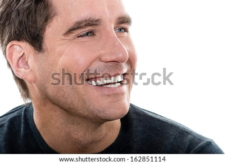 one caucasian man mature handsome man close up portrait studio  white background - stock photo