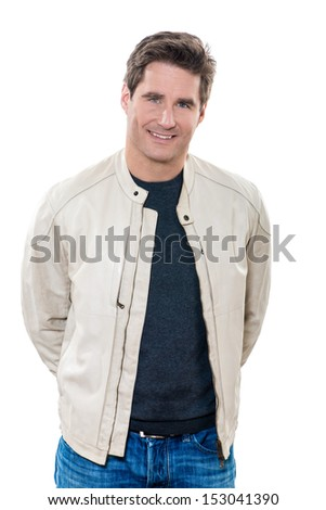 one caucasian man mature handsome portrait studio  white background - stock photo