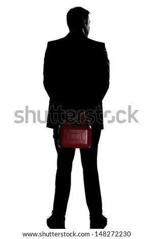 one caucasian man out of gas holding can  full length silhouette in studio isolated white background - stock photo