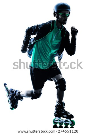 one caucasian man Roller Skater inline  Roller Blading in silhouette isolated on white background - stock photo