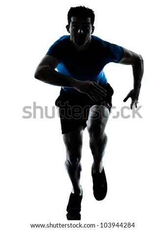 one caucasian man runner running sprinter sprinting  in silhouette studio  isolated on white background - stock photo