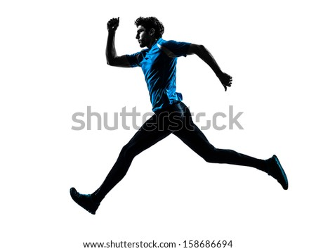 one caucasian man  running sprinting jogging in silhouette studio isolated on white background - stock photo